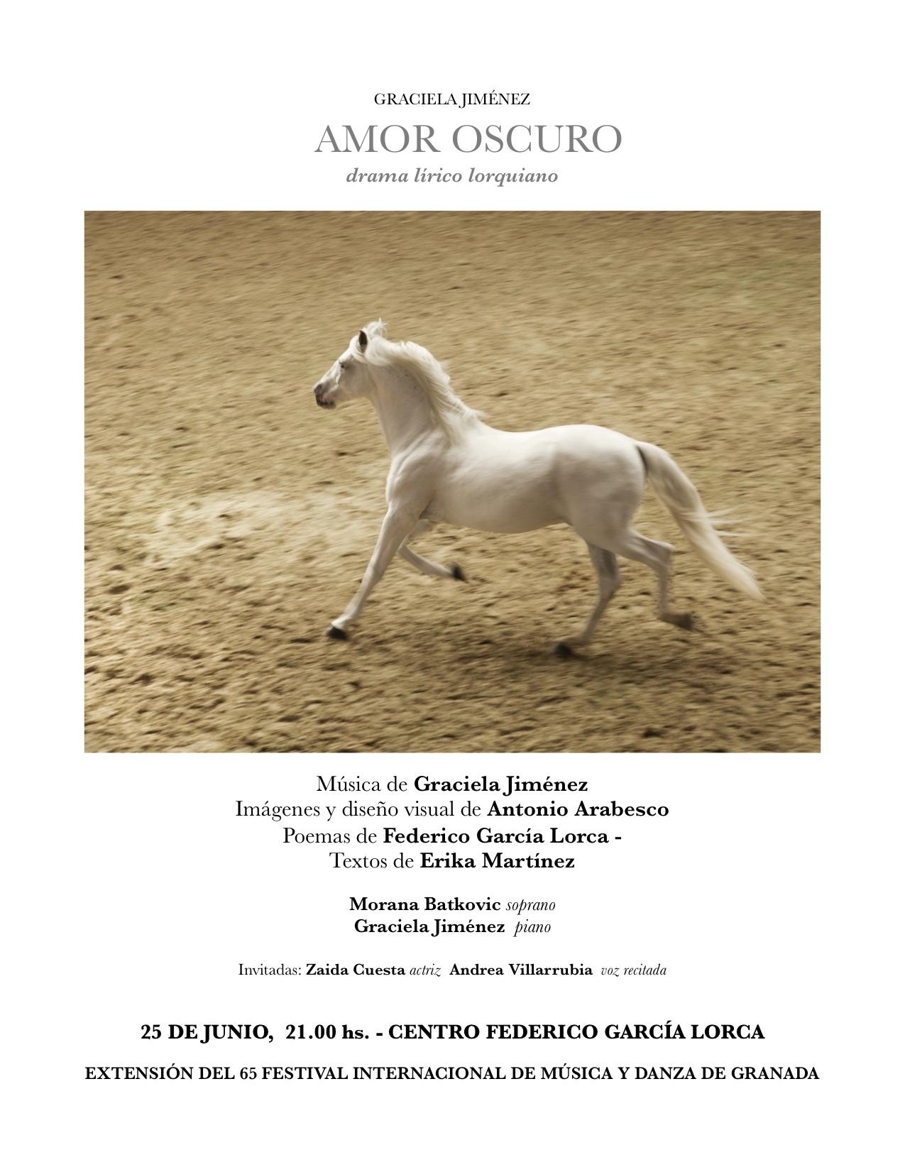GRACIELA JIMÉNEZ - AMOR OSCURO drama lírico lorquiano @ Centro Federico García Lorca,    Granada   Andalucía   España