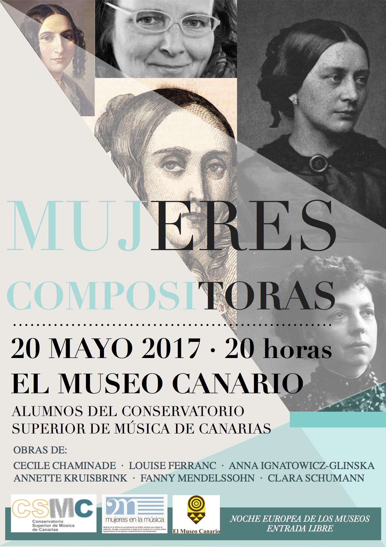Cartel y programa Concierto Mujeres compositoras en Las Palmas 20 mayo 2017