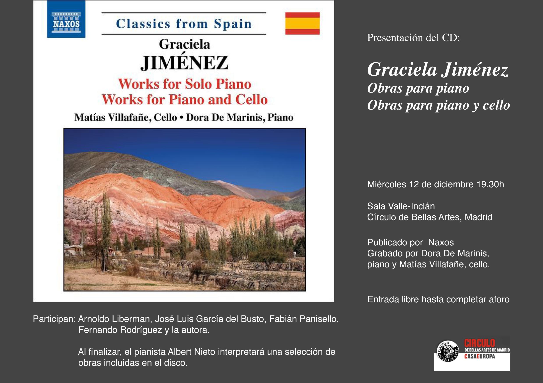 PRESENTACIÓN DEL CD: GRACIELA JIMÉNEZ @ Sala Valle-Inclán. Círculo de Bellas Artes | Madrid | Comunidad de Madrid | España