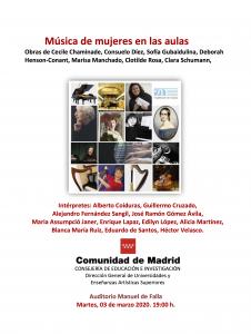 Cartel concierto música de mujeres en las aulas 03 de marzo 2020