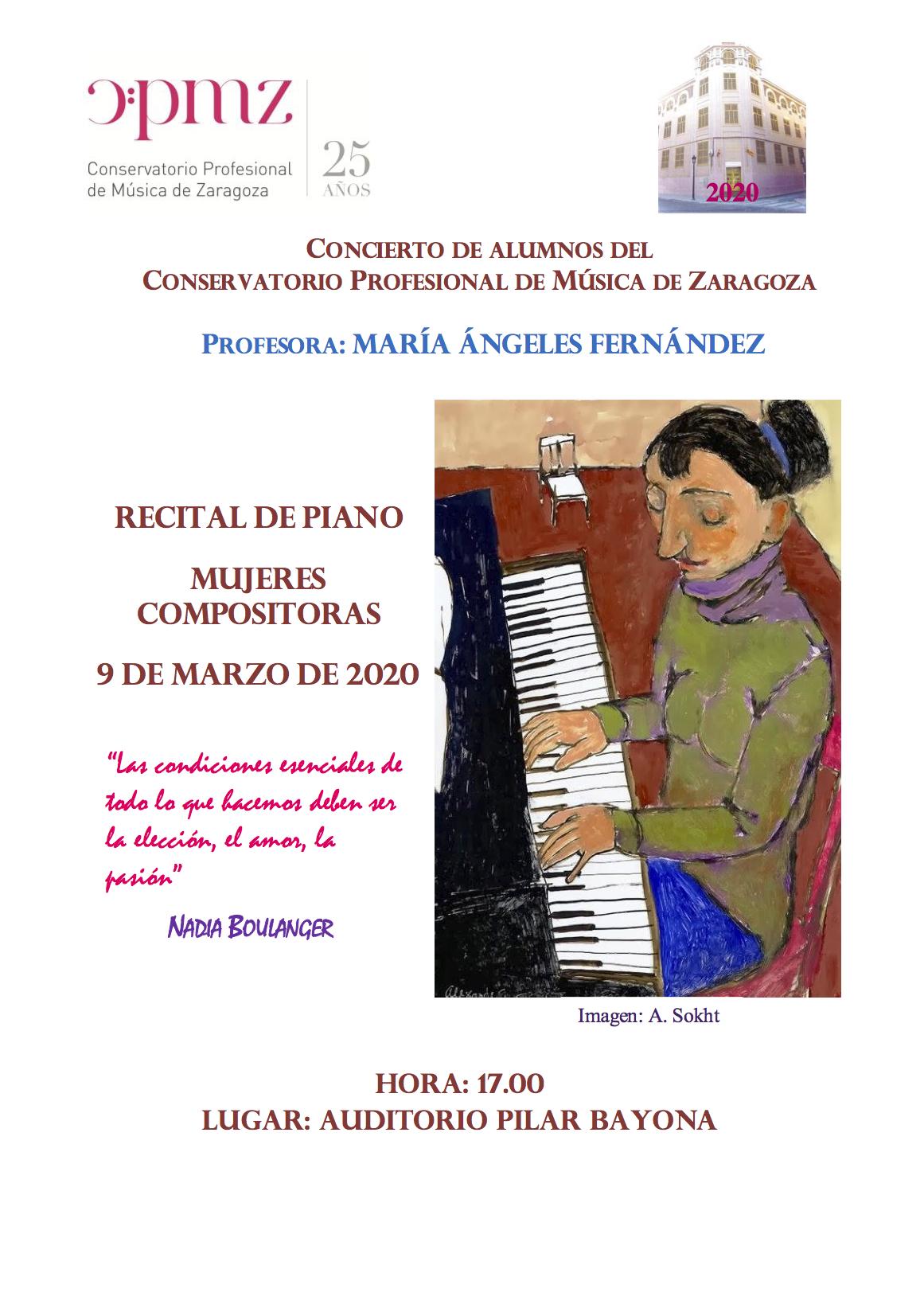 """#VIMujeresEnLasAulas CPM de Zaragoza @ Auditorio """"Pilar Bayona"""" del CPM de Zaragoza"""