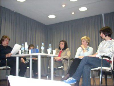 PROYECTO PEDAGÓGICO DE MÚSICA Y GÉNERO.  Mesa Redonda compuesta por Magaly Ruiz, María Dolores Malumbres, Mercedes Zavala, Blanca Alfonso y Arantxa Hernández.  Mayo 2010, Polimúsica, Madrid.