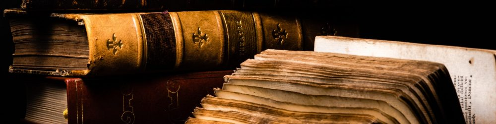 Old books in black background